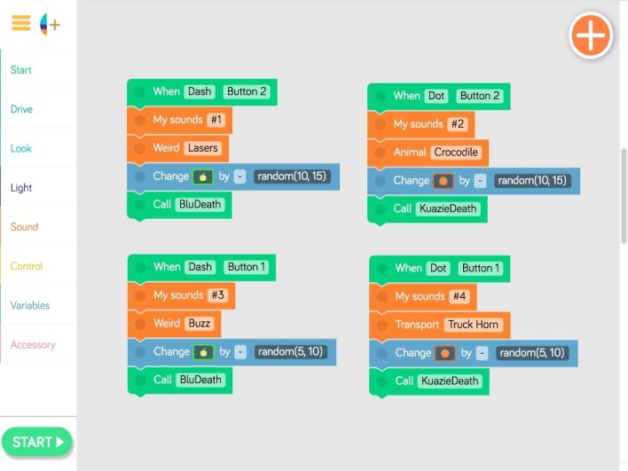 Blockly Code - Buttons 1 & 2